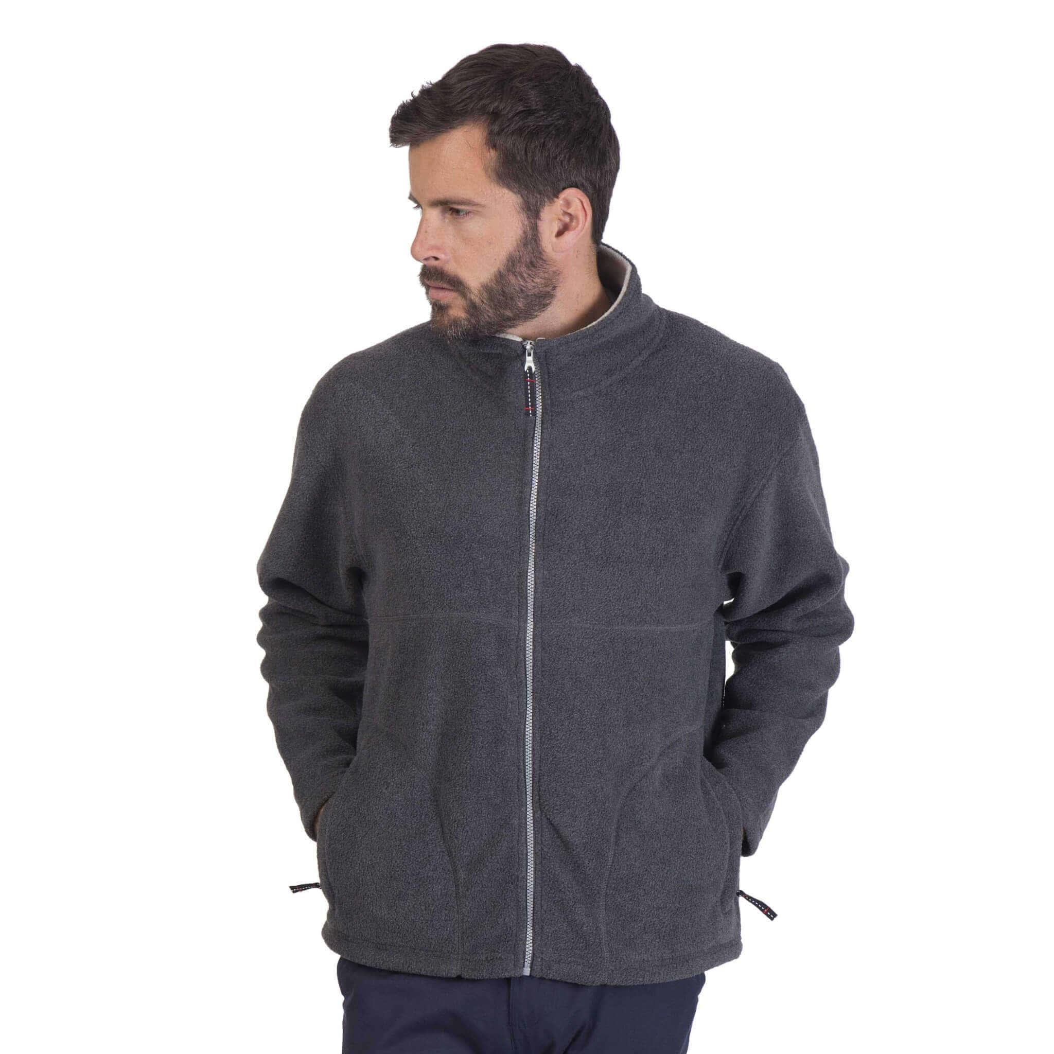 forro polar gris full zip con modelo