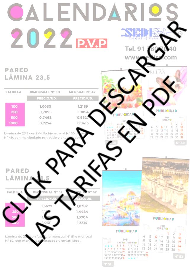 Descarga las tarifas de calendarios de Sedisa 2022